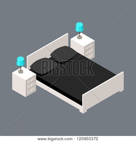 Vector isometric bedroom with a bed and bedside tables