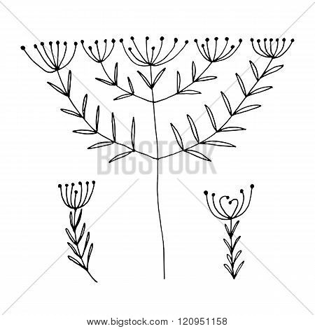 Set of abstract black hand drawn flowers in doodle style. Vector Illustration EPS10