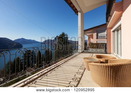 Architecture, modern house balcony