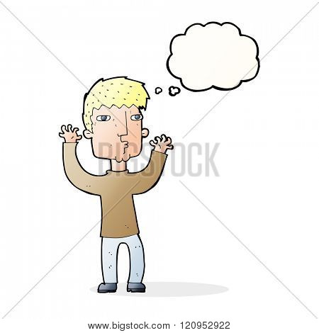 cartoon anxious man with thought bubble