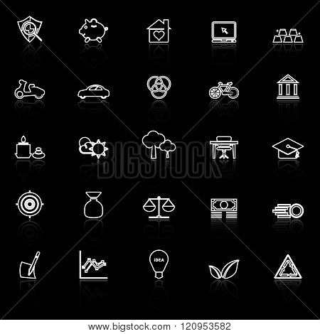 Sufficient economy line icons with reflect on black stock vector
