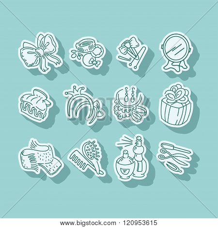 Set of hairpins and barbershop cosmetic instruments icons
