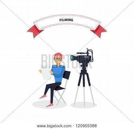 Filming Producer Man Design Flat