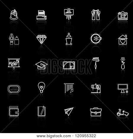 Art and creation line icons with reflect on black background stock vector
