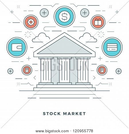 Flat line Business Stock Market Deals Concept.