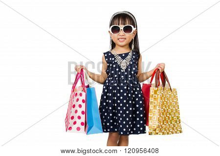 Asian Little Chinese Girl With Shopping Bag
