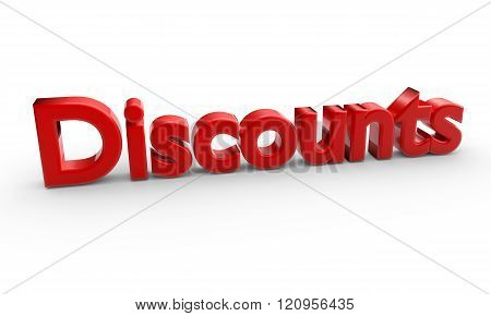 3D Red Word Discounts