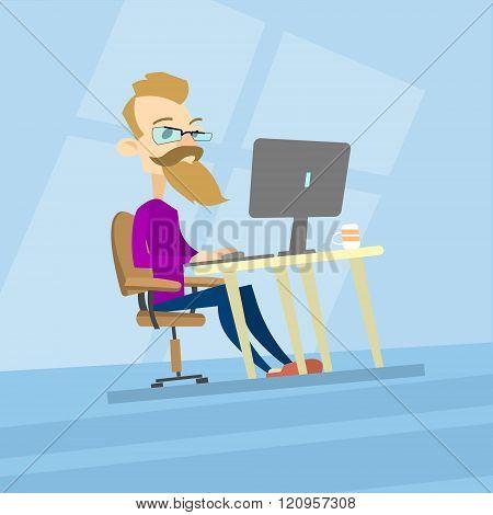 Business Man Hipster Work Computer, Desktop Type Casual Blogger, Freelancer