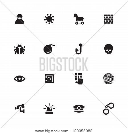 Black Simple Flat Icon Set 7