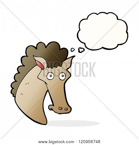 cartoon horse head with thought bubble