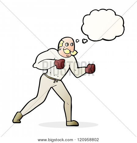 cartoon retro boxer man with thought bubble