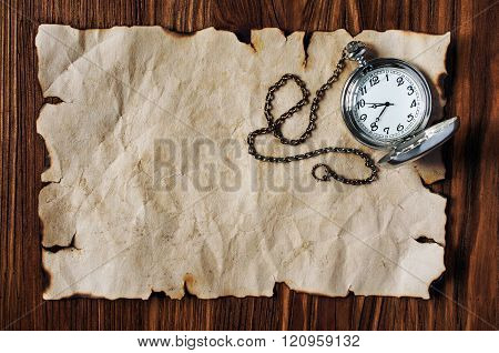 Sheet Of Ancient Parchment And Pocket Watch