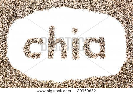 Chia word made from chia seeds isolated on white