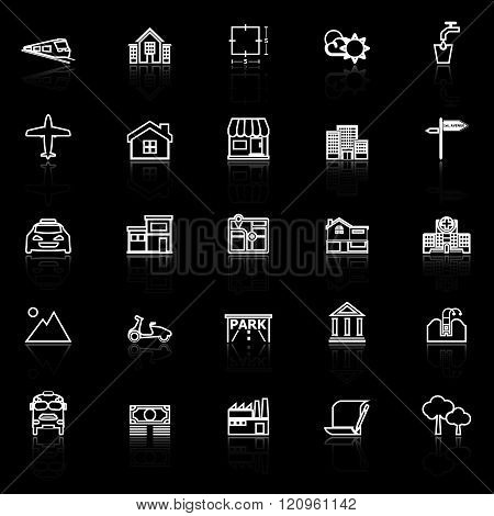 Real estate line icons with reflect on black stock vector