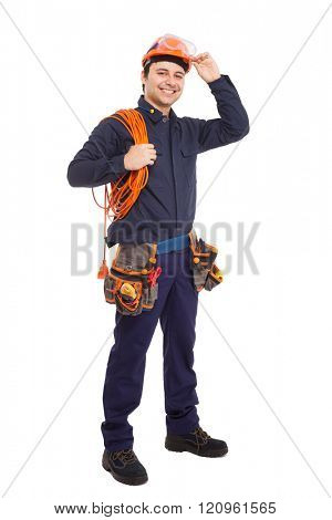 Full length portrait of an handsome worker