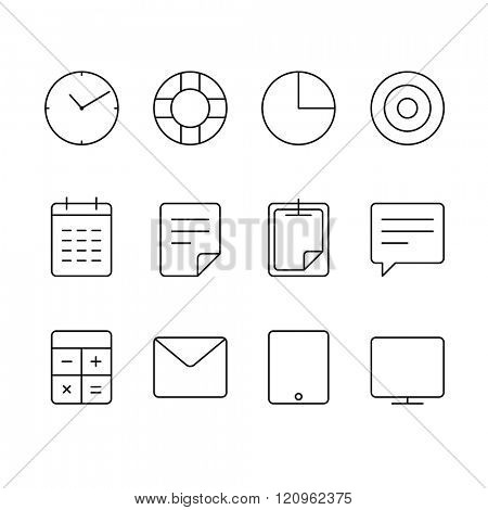 Different thin web icons set. Lineart design elements collection