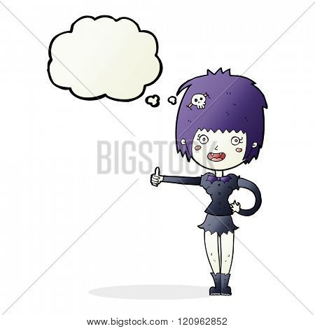 cartoon vampire girl giving thumbs up sign with thought bubble