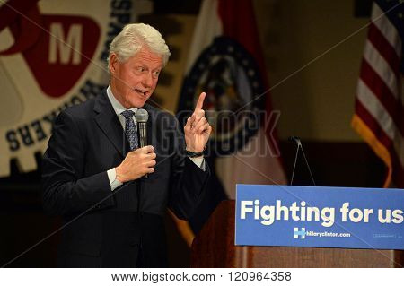 Bridgeton, MO/USA - March 08, 2016: Bill Clinton speaks to supporters at political rally for wife and presidential democratic candidate Hillary Clinton, at District 9 Machinists Hall in Bridgeton.