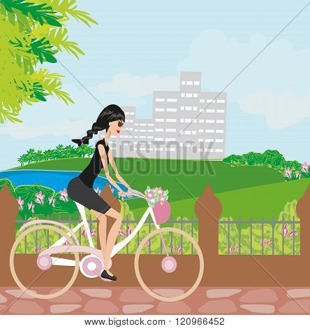 Young Girl With Bicycle