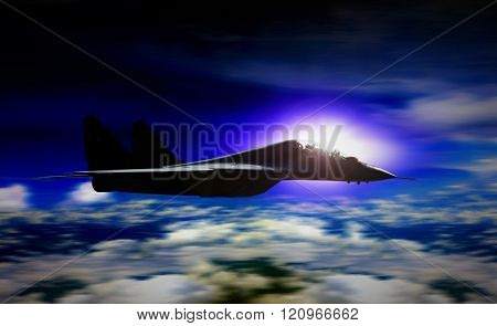 Military Plane Flying During Sunrise With Blur Motion Background