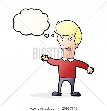 cartoon man sticking out tongue with thought bubble