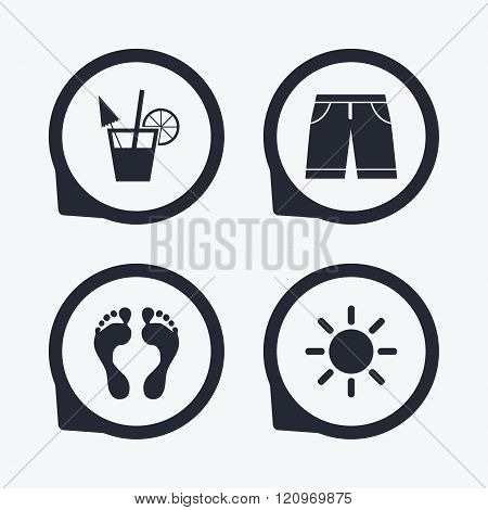 Beach holidays icons. Cocktail, human footprints