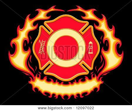 Firefighter Cross with Flaming Banner