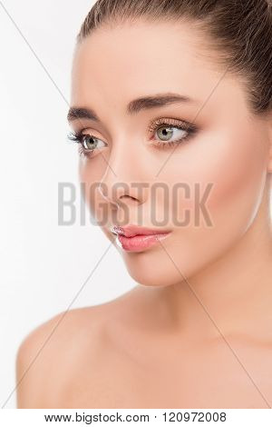 Close Up Portrait Of Beatiful Smiling Woman With Sensitive Skin