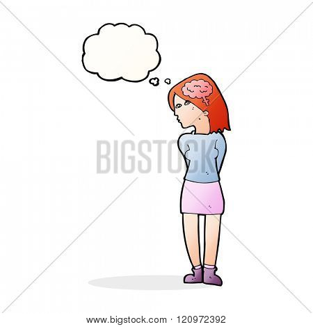 cartoon brainy woman with thought bubble