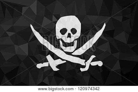 Low polly pirat flag.