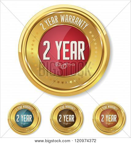 Red and gold metallic two year warranty button