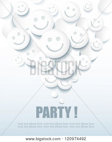 Abstract Background with Smiles for Party and Holidays.