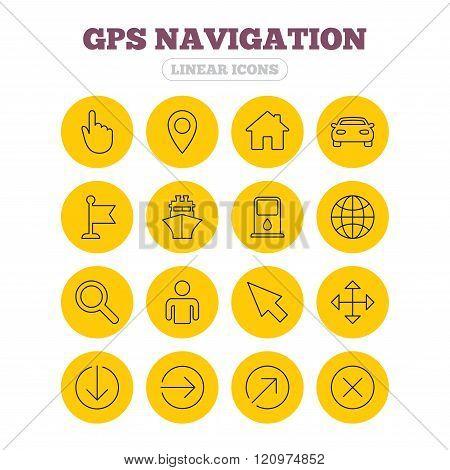 GPS navigation icons. Car and Ship transport.