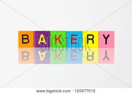 Bakery - an inscription from children's wooden blocks