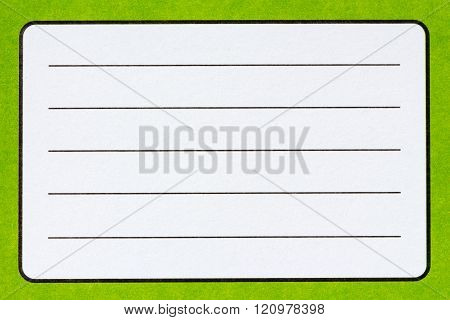 Name Label Of Green Exercise Book