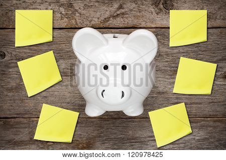 Piggy Bank With Sticky Notes