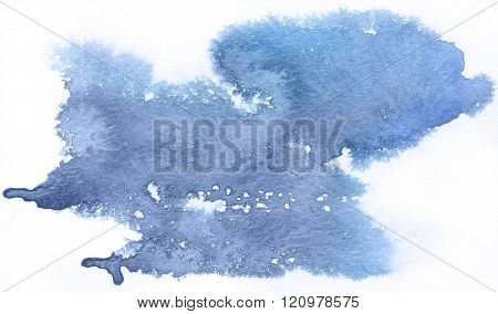 Blue spot, watercolor abstract hand painted background. Serenity Tint Watercolour Texture Gradient. Pastel Colored Palette.