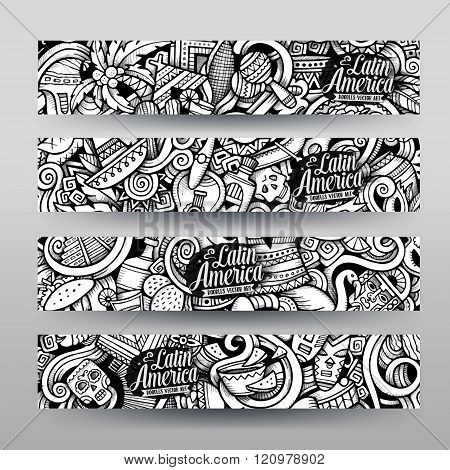 Graphics vector Latin American Doodle banners