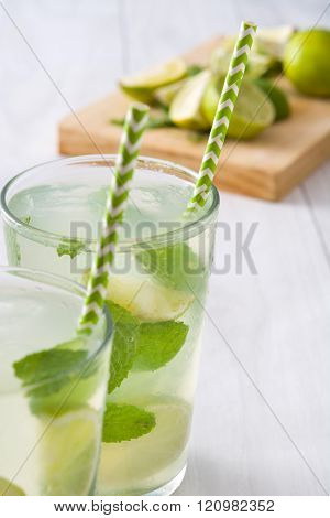 Summer drink. Fresh mojito with lime and mint.
