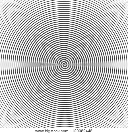 Hypnotic Spiral Abstract Background. Retro Style. Black And Whit