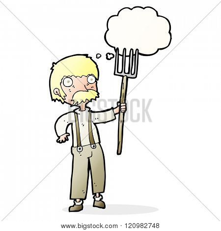 cartoon farmer with pitchfork with thought bubble
