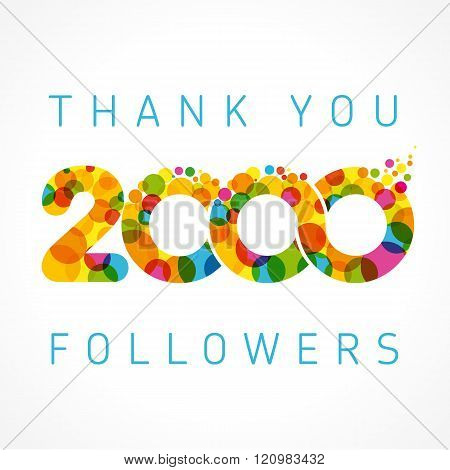 Thank you 2000 followers color numbers