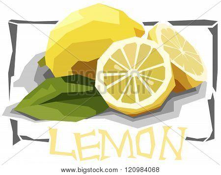 Vector Simple Illustration Of Fruit Yellow Lemon.