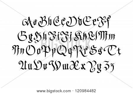 Modern Gothic Style Font. Letters With Decorative Elements