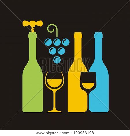 Row Of Wine Bottles With Corkscrew, Wineglass And Bunch Of Grapes