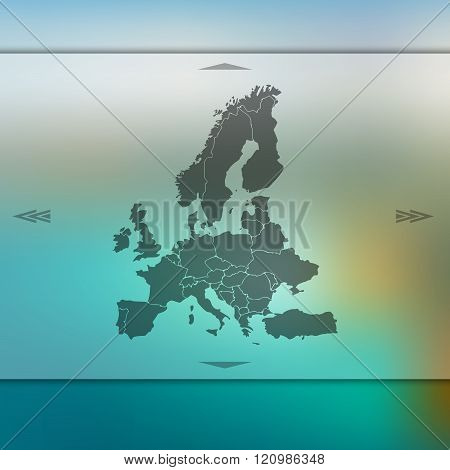Europe map on blurred background.