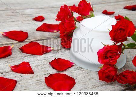 Rose cream and rose petals