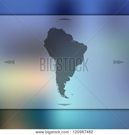 Blurred background with silhouette of South America