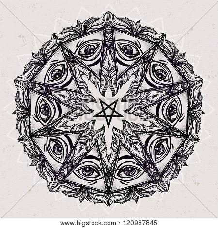 Vector Satanic eye mandala symbol.