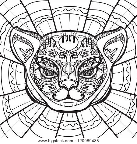 Ethnic Cat. Hand drawn illustration in zentangle style